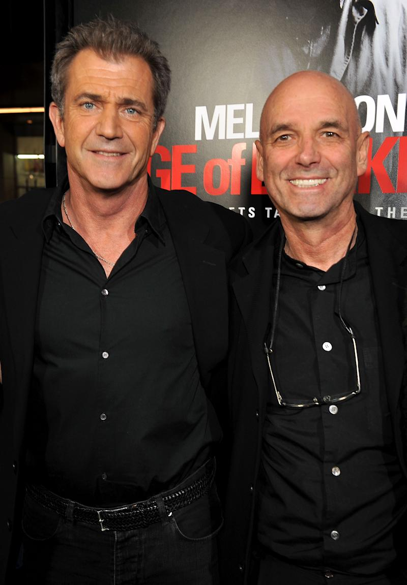 "HOLLYWOOD - JANUARY 26: Actor Mel Gibson and director Martin Campbell arrive at the ""Edge Of Darkness"" premiere held at Grauman's Chinese Theatre on January 26, 2010 in Hollywood, California. (Photo by Lester Cohen/WireImage)"