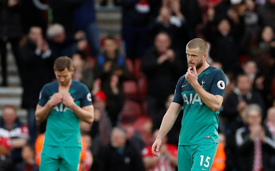 """Soccer Football - Premier League - Southampton v Tottenham Hotspur - St Mary's Stadium, Southampton, Britain - March 9, 2019  Tottenham's Eric Dier and Jan Vertonghen react after the match    Action Images via Reuters/Paul Childs  EDITORIAL USE ONLY. No use with unauthorized audio, video, data, fixture lists, club/league logos or """"live"""" services. Online in-match use limited to 75 images, no video emulation. No use in betting, games or single club/league/player publications.  Please contact your account representative for further details."""