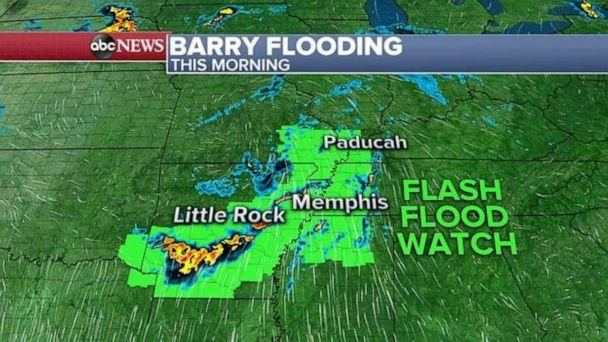PHOTO: Flash flood watches are still in effect Tuesday morning because of Barry. (ABC News)