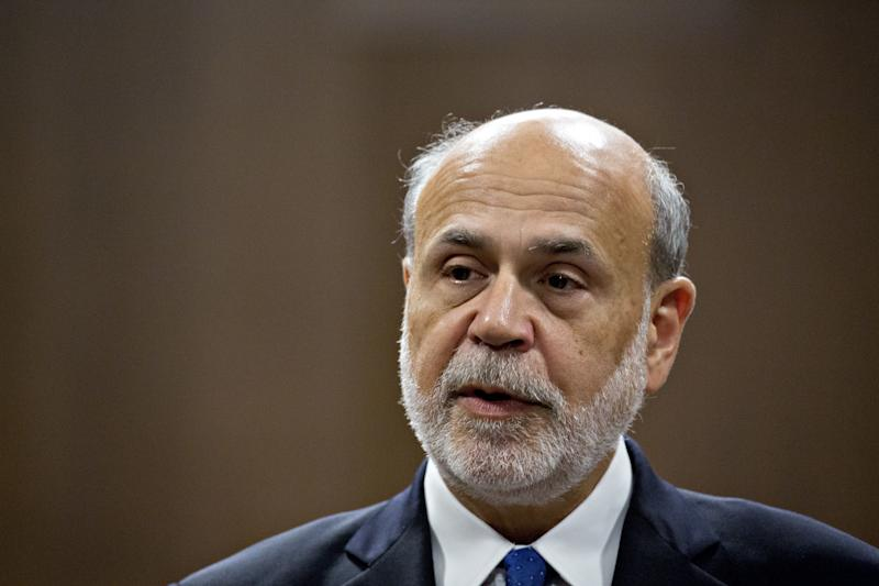 Ben S. Bernanke, former chairman of the U.S. Federal Reserve, speaks during an event for the presentation of the Paul H. Douglas Award for Ethics in Government in Washington, D.C., U.S., on Tuesday, Nov. 7, 2017. The award is presented annually to a person whose public actions, writings or other contributions have made a significant contribution to the practice and understanding of ethical behavior and fair play in government. Photographer: Andrew Harrer/Bloomberg via Getty Images