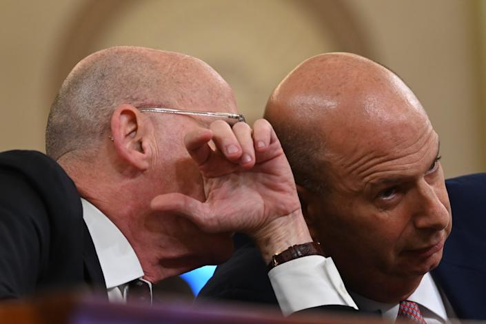 Gordon Sondland, U.S. Ambassador to the European Union, right, confers with his counsel before the Permanent Select Committee on Intelligence on Nov. 20, 2019.