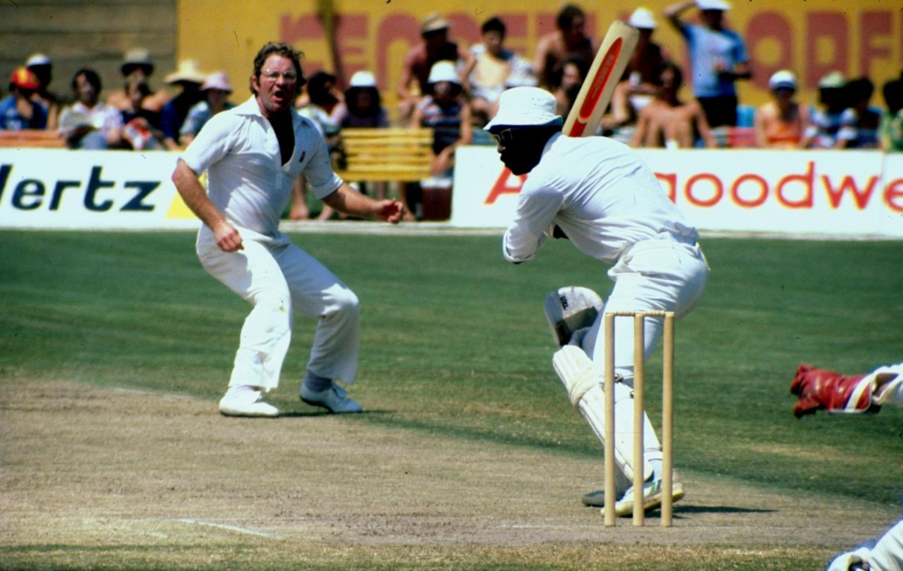 Jun 1979:  Eddie Barlow of Australia bowls to Clive Lloyd of the Rest of the World during a match. \ Mandatory Credit: Allsport UK /Allsport