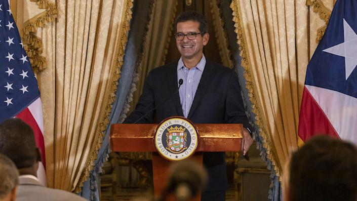 Puerto Rico's new governor Pedro Pierluisi holds press conference in San Juan, Puerto Rico on August 06, 2019. (Alejandro Granadillo/Anadolu Agency via Getty Images)