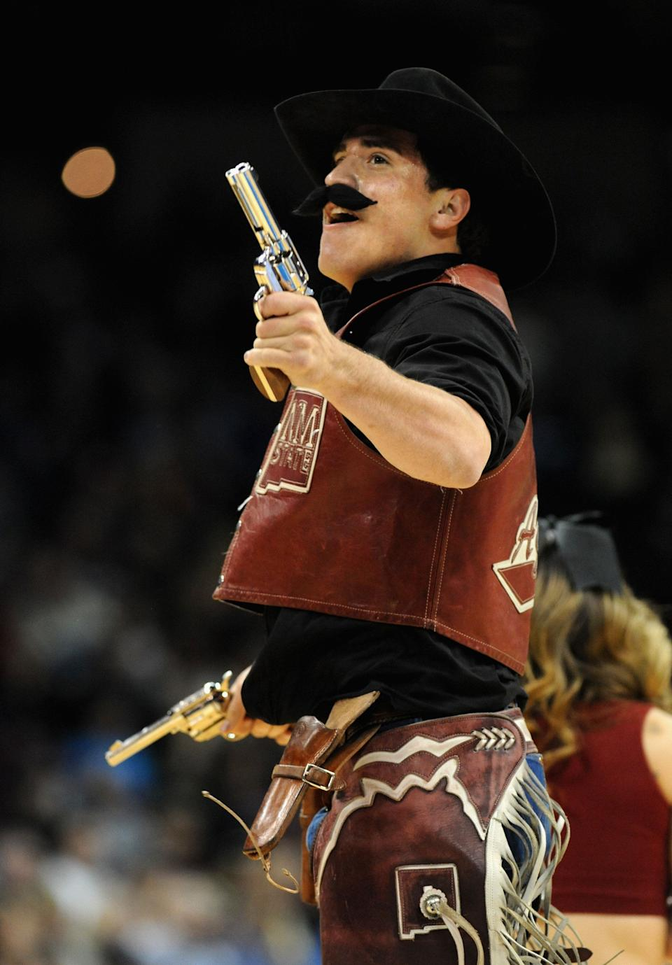 SPOKANE, WA - MARCH 20:  The New Mexico State Aggies mascot performs during the second round of the 2014 NCAA Men's Basketball Tournament against the San Diego State Aztecs at Spokane Veterans Memorial Arena on March 20, 2014 in Spokane, Washington.  (Photo by Steve Dykes/Getty Images)