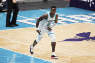 Charlotte Hornets guard Terry Rozier (3) reacts after making a three-point basket during the first half of an NBA basketball game against the New Orleans Pelicans, Sunday, May 9, 2021, in Charlotte, N.C. (AP Photo/Brian Westerholt)