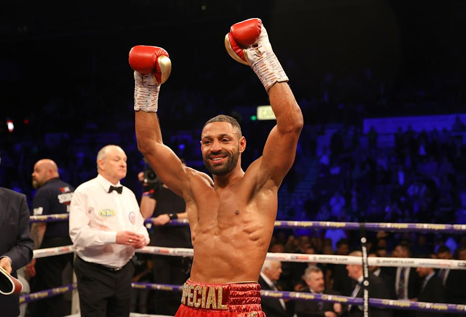 SHEFFIELD, ENGLAND - FEBRUARY 08: Kell Brook celebrates victory with the WBO Intercontiental Super-Welterweight belt after the WBO Intercontiental Super-Welterweight Title Fight between Kell Brook and Mark DeLuca at FlyDSA Arena on February 08, 2020 in Sheffield, England. (Photo by Richard Heathcote/Getty Images)