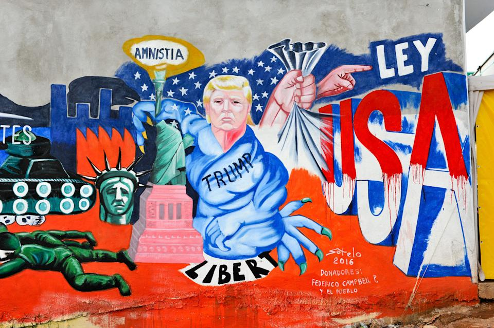Detail of the mural paint made by Mexican artist Luis Sotelo called 'We are migrants not criminals' (Somos migrantes no delincuentes) in Tonatico, Mexico, on 25 June 2016. The mural is part of the cultural movement 'Stop Trump'.