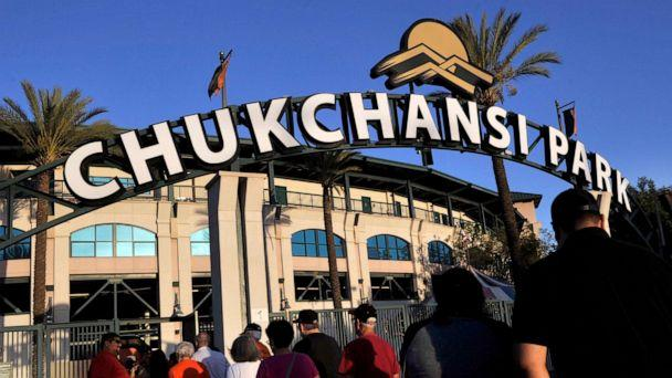 PHOTO: Fans arrive at Chukchansi Park in Fresno, Calif., Sept. 18, 2015, for a minor-league baseball game between the Fresno Grizzlies and the Round Rock Express. (The Fresno Bee via AP, FILE)