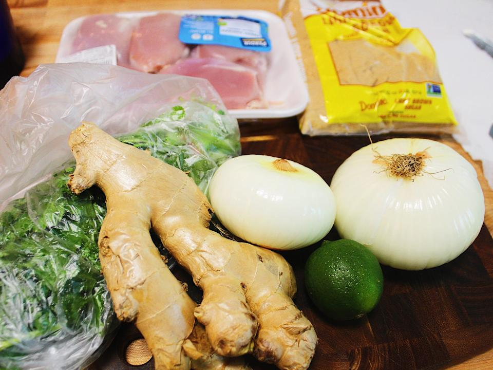 chicken thighs ginger onion cilantro lime recipe ingredients