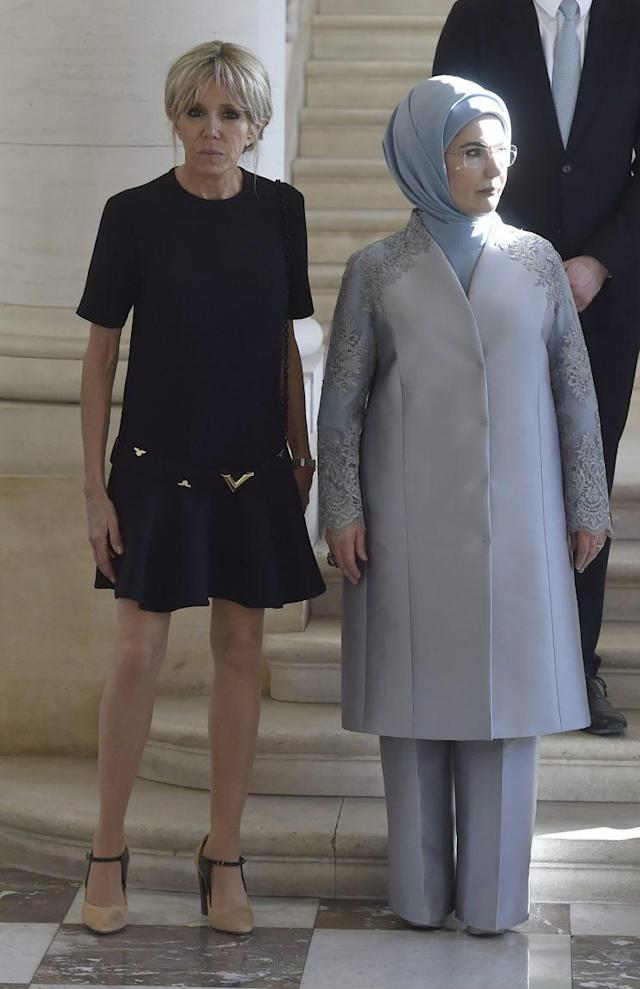 France's first lady Brigitte Trogneux and Turkey's first lady Emine Erdogan. (Photo: Reuters)