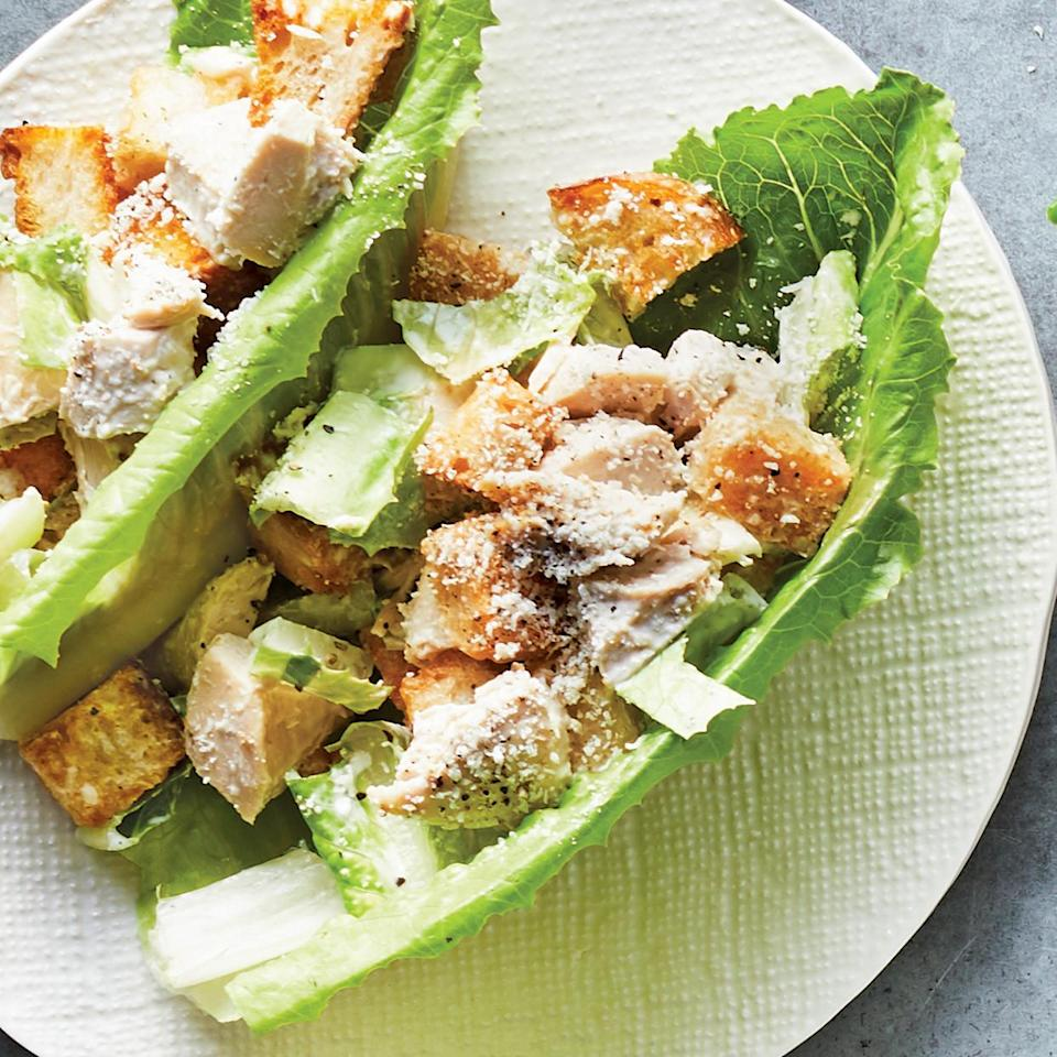 <p>Upgrade your work lunch with these tasty Caesar salad lettuce cups. This Caesar salad recipe gets a healthy makeover, thanks to homemade dressing made with Greek yogurt.</p>