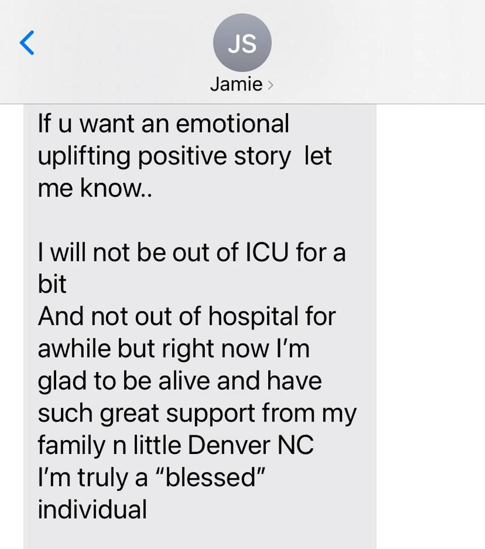 Lincoln Charter School coach and teacher Jamie Seitz texted this to Observer sports columnist Scott Fowler in December 2020, a few days before he died.