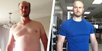 """<p>Stephane Doiron was inspired to get in shape so he could help his son train for hockey. </p><p>""""I remember it so well because I was pushing my oldest son to excel in his strength conditioning training for his local hockey team,"""" he previously told <em>Men's Health</em>. """"First of all, I realized that I wouldn't be able to do one-third of what he was doing, and secondly, what right did I have to motivate him on how to become a better athlete,"""" Doiron recalled. </p><p>He began by running. After six months, the 45-year-old dad went from 240 to 210 pounds. After struggling to lose more weight, Doiron began tracking macronutrients. </p><p>Doiron exceeded his original goal, which was to weigh 199 pounds, and settled at 185 pounds. </p><p><a href=""""https://www.menshealth.com/weight-loss/a25861934/man-weight-loss-transformation-running-counting-macros/"""" rel=""""nofollow noopener"""" target=""""_blank"""" data-ylk=""""slk:Read more about Stephane's transformation."""" class=""""link rapid-noclick-resp"""">Read more about Stephane's transformation. </a></p>"""
