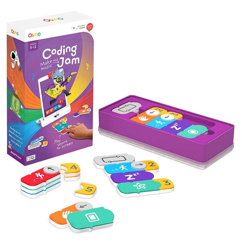 """<a href=""""https://www.amazon.com/Osmo-Coding-Jam-Game-required/dp/B06XRW2185"""" target=""""_blank"""">Create and layer melodies</a>, drum beats, and more while building original compositions with fun characters from different worlds."""