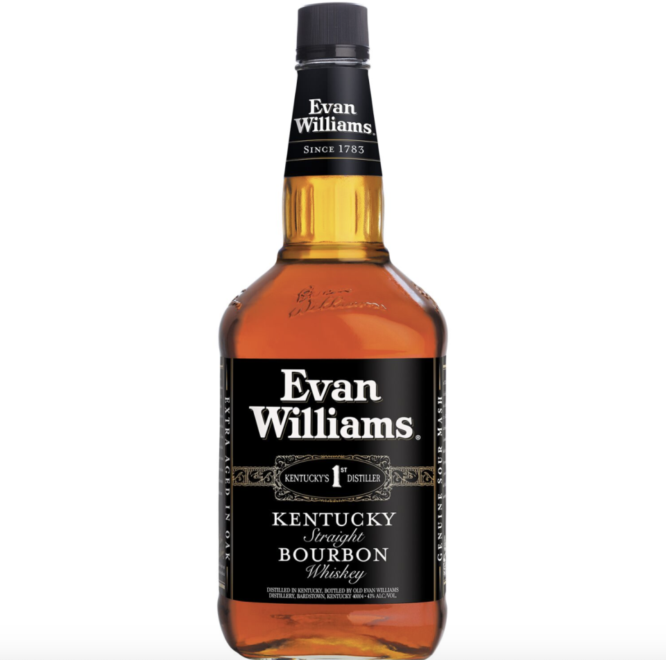 """<p><strong>Evan Williams</strong></p><p>drizly.com</p><p><strong>$14.29</strong></p><p><a href=""""https://go.redirectingat.com?id=74968X1596630&url=https%3A%2F%2Fdrizly.com%2Fliquor%2Fwhiskey%2Fbourbon%2Fevan-williams-bourbon%2Fp3248&sref=https%3A%2F%2Fwww.cosmopolitan.com%2Flifestyle%2Fg33366201%2Fbest-cheap-liquor%2F"""" rel=""""nofollow noopener"""" target=""""_blank"""" data-ylk=""""slk:Shop Now"""" class=""""link rapid-noclick-resp"""">Shop Now</a></p><p>You don't have to ball out to enjoy a nice bourbon. This one is less than $15 and tastes like it was made in the fanciest distillery.</p>"""
