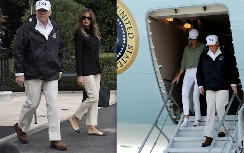 The US President and First Lady leave the White House (left). Melania had changed her outfit by the time they arrived in Florida - NICHOLAS KAMM/AFP/JONATHAN ERNST/Reuters