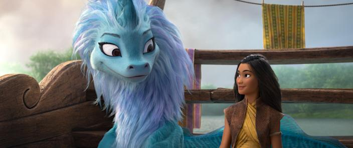 "Awkwafina voices the dragon Sisu alongside Raya (Kelly Marie Tran) in ""Raya and the Last Dragon."""