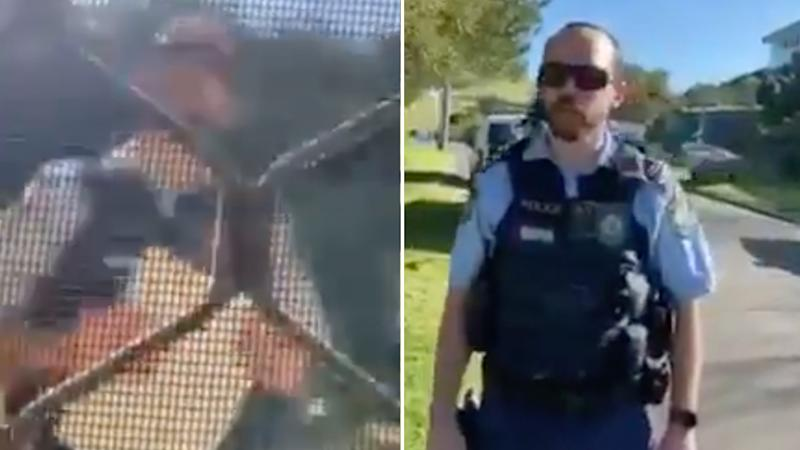 Pictured is the police officer being filmed through the screen door and when the man confronted him in person.