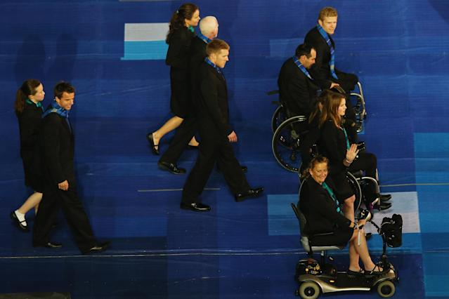 LONDON, ENGLAND - AUGUST 29: The New Zealand team walk in during the Opening Ceremony of the London 2012 Paralympics at the Olympic Stadium on August 29, 2012 in London, England. (Photo by Hannah Johnston/Getty Images)