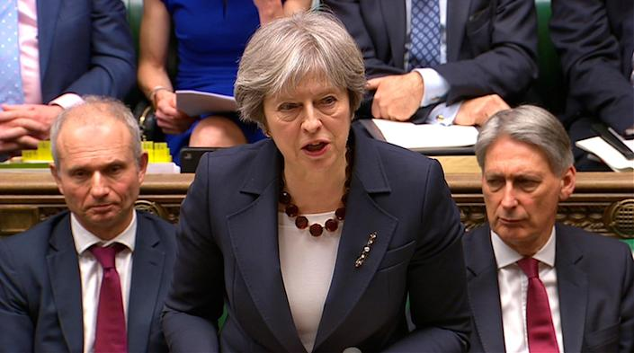 Britain's Prime Minister Theresa May reacts to the poisoning of former Russian intelligence officer Sergei Skripal and his daughter Yulia, March 14, 2018. (Photo: Parliament TV handout via Reuters)