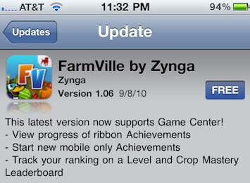 FarmVille iphone app updated to version 1.06