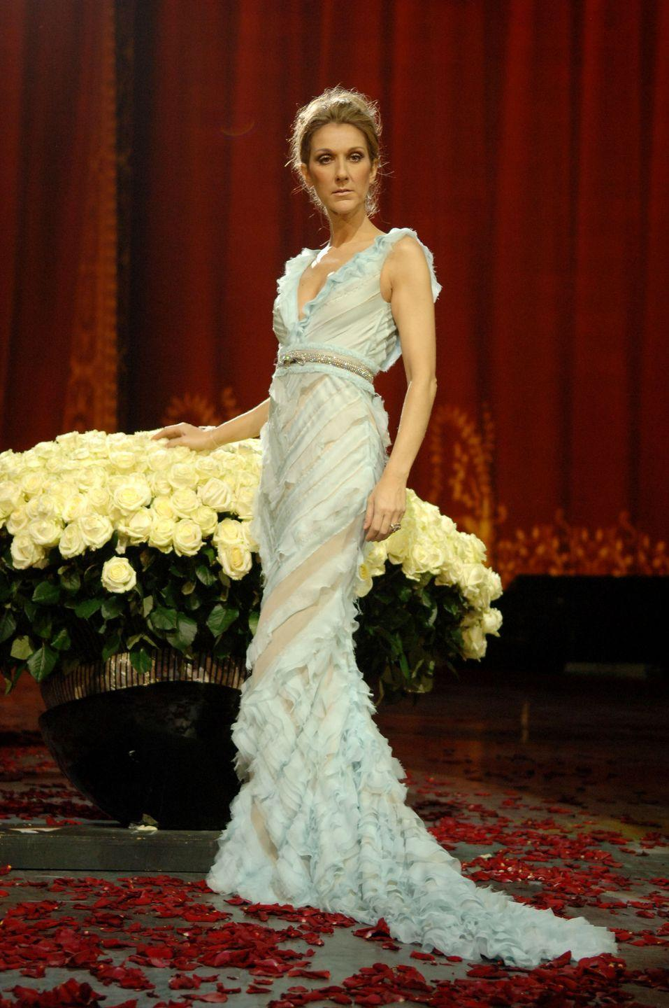 <p>For the finale of her first Las Vegas residency, she stunned in an icy blue ruffled gown. </p>