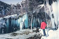 <p>The name Hanging Lake completely fits this Colorado destination during the winter months, when the falls turn into massive icicles dangling from the ledge. </p>