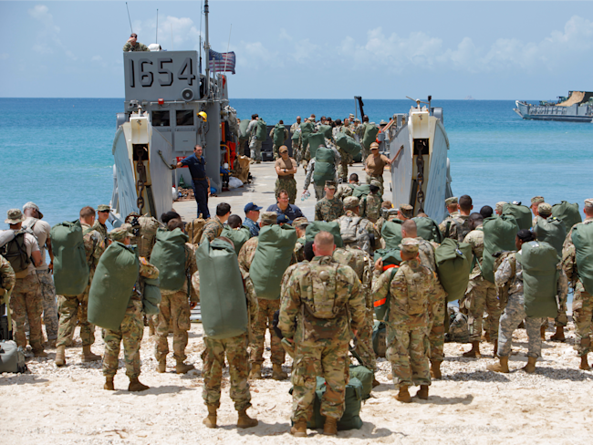 Army personnel evacuate the Virgin Islands in advance of Hurricane Maria