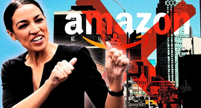 Alexandria Ocasio-Cortez is thrilled that Amazon will not be opening offices in Long Island City, NY, (Photo illustration: Yahoo News; photos: AP, Drew Angerer/Getty Images)