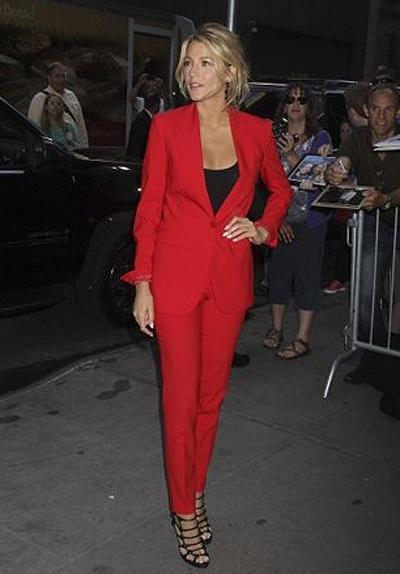 <p><b>Blake Lively</b></p> <p>Blake Lively has screen siren appeal down to a science (her announcement as the new face of Gucci seemed all but a given), but surprised us anew when she stepped out in a fiery monochrome red power suit courtesy of Michael Kors while in New York to promote her most recent film, <em>Savages</em>.</p>