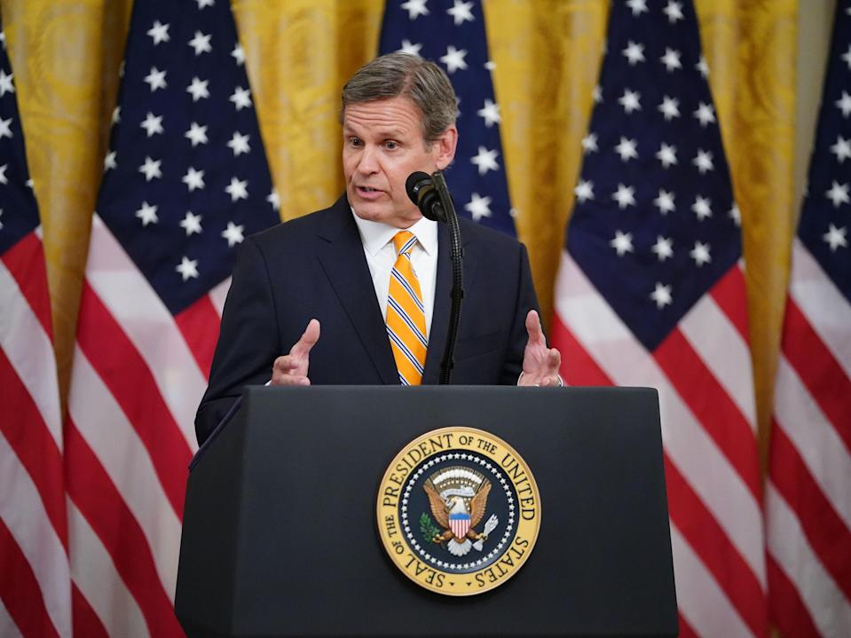 Tennessee Governor Bill Lee speaks on 30 April 2020 at the White House in Washington, DC (MANDEL NGAN/AFP via Getty Images)