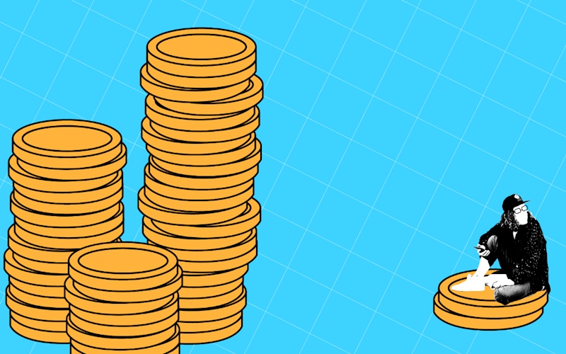 An illustration of a man wearing a facemask sitting next to a pile of coins
