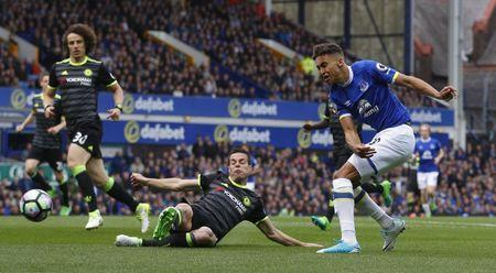 Britain Football Soccer - Everton v Chelsea - Premier League - Goodison Park - 30/4/17 Everton's Dominic Calvert-Lewin shoots at goal Reuters / Phil Noble Livepic