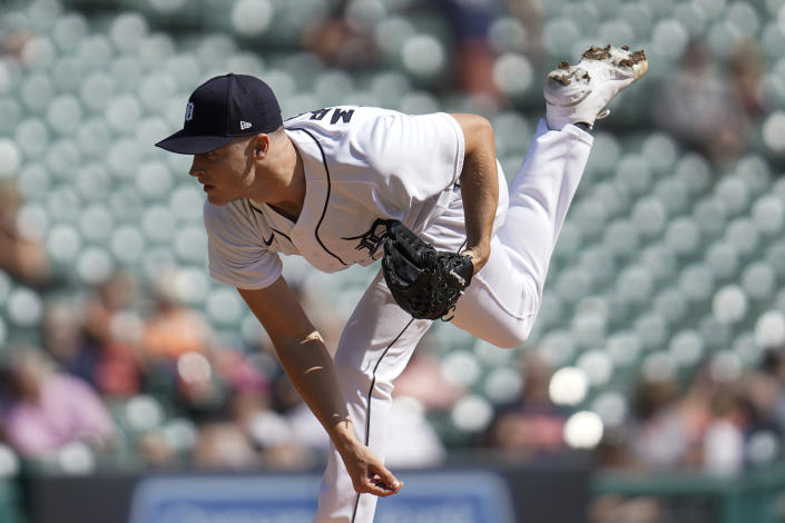 Detroit Tigers pitcher Matt Manning throws against the Chicago White Sox in the first inning of a baseball game in Detroit, Monday, Sept. 27, 2021. (AP Photo/Paul Sancya)