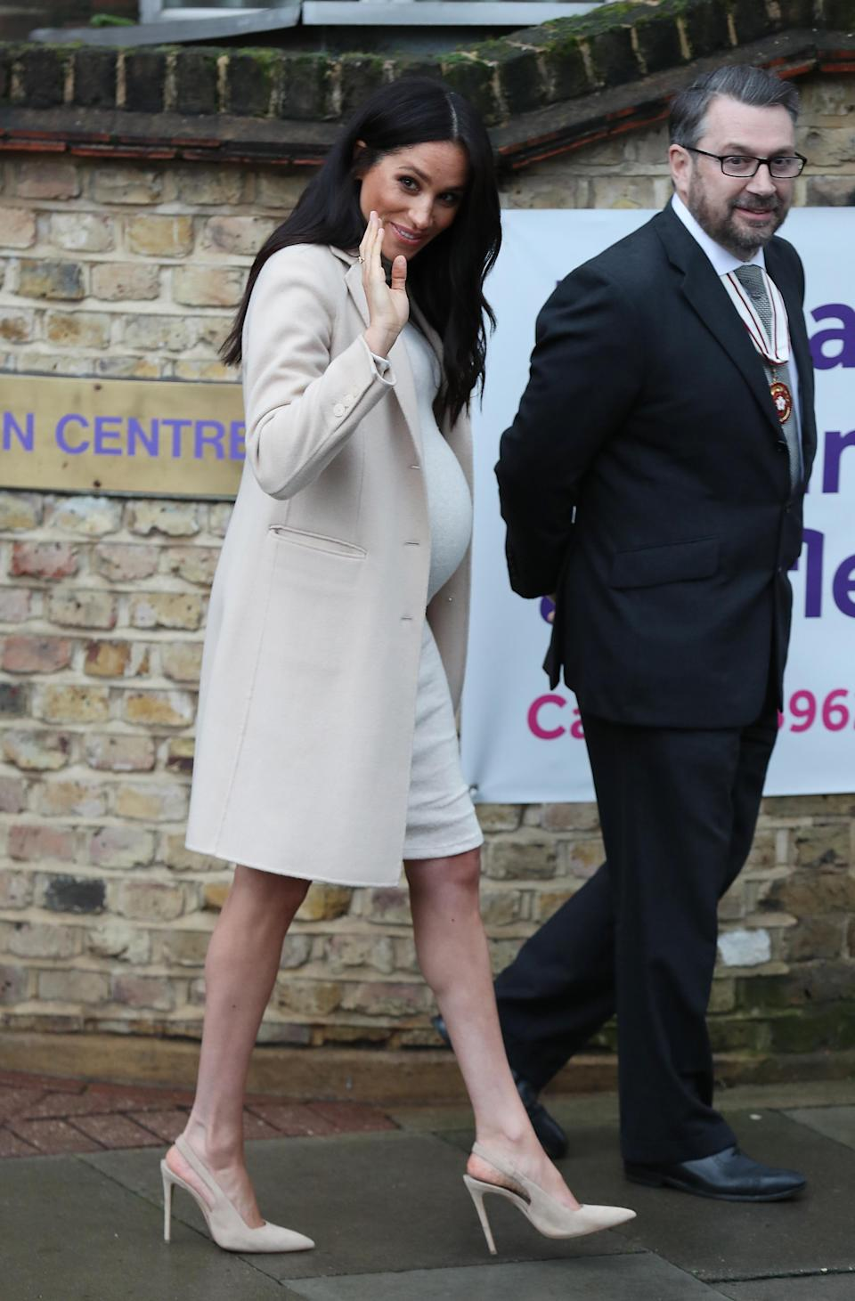 The Duchess of Sussex surprised fans in a £25 H&M maternity dress on January 16. A slick Armani coat, £713 Stella McCartney bag and £564 Manolo Blahnik slingbacks finished the minimal look. For a touch of sparkle, Meghan opted for her go-to £876 Birks diamond stud earrings. [Photo: Getty]