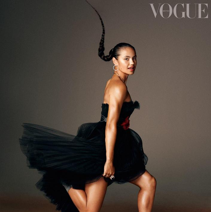 Emma Raducanu is featured in the October edition of Vogue. - VOGUE