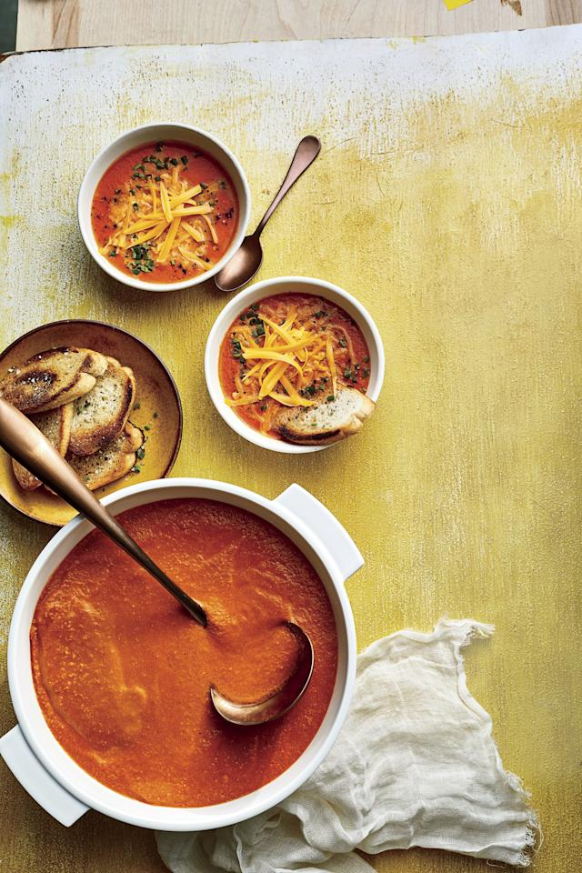 """<p><strong>Recipe:</strong> <strong><a href=""""https://www.southernliving.com/recipes/roasted-tomato-soup"""" target=""""_blank"""">Roasted Tomato Soup with Cheddar Cheese</a></strong></p> <p> Our tried and true tomato soup that pairs exceptionally well with a toasted grilled cheese.</p>"""