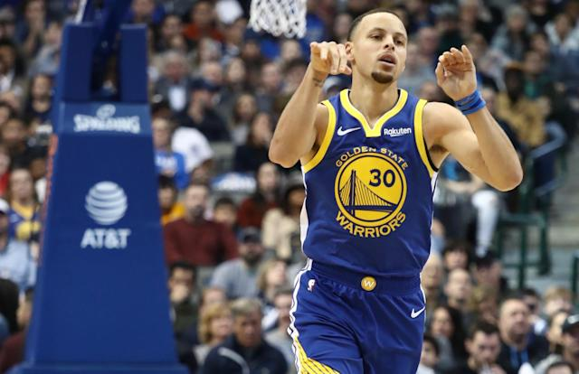 Stephen Curry got the best of Luka Doncic and the Mavericks in a thriller capped by his game-winning 3-pointer. (Getty)
