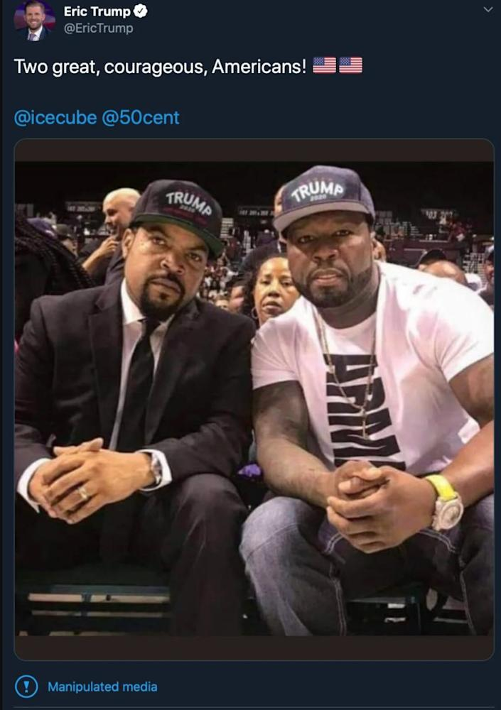 """Eric Trump posted a fake photo showing Ice Cube and fellow rapper 50 Cent wearing """"Trump 2020"""" hats on Tuesday. (Photo: Twitter)"""