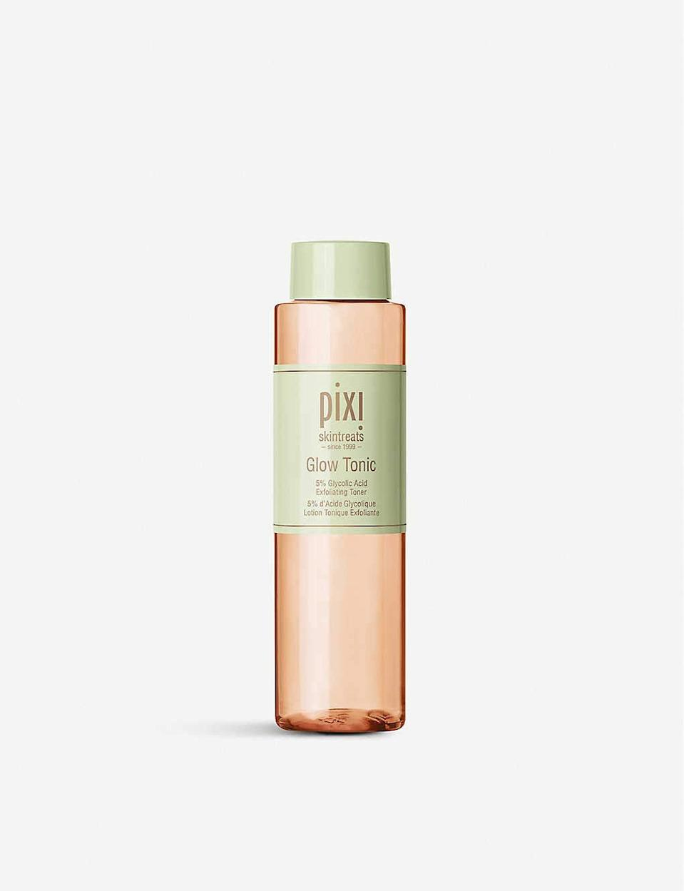 """<h3>Pixi Glow Tonic</h3><br><strong>Mia</strong><br><br>""""I was already familiar with Pixi products and had always heard great things about the brand's Glow Tonic, but after digging DEEP into the Amazon reviews on this gem I was completely sold. It arrived so quickly and after using it for just a few days (morning and night after cleansing) I noticed a huge difference in my skin. My pores were much smaller and the bothersome sebum bumps on my chin area were nearly nonexistent after a week. And the spots where I had previously picked at blemishes were noticeably brighter. Will definitely be ordering more of this magic potion.""""<br><br><strong>Pixi</strong> Glow Tonic with Aloe Vera & Ginseng, 8 oz, $, available at <a href=""""https://amzn.to/3a2Ql5l"""" rel=""""nofollow noopener"""" target=""""_blank"""" data-ylk=""""slk:Amazon"""" class=""""link rapid-noclick-resp"""">Amazon</a>"""