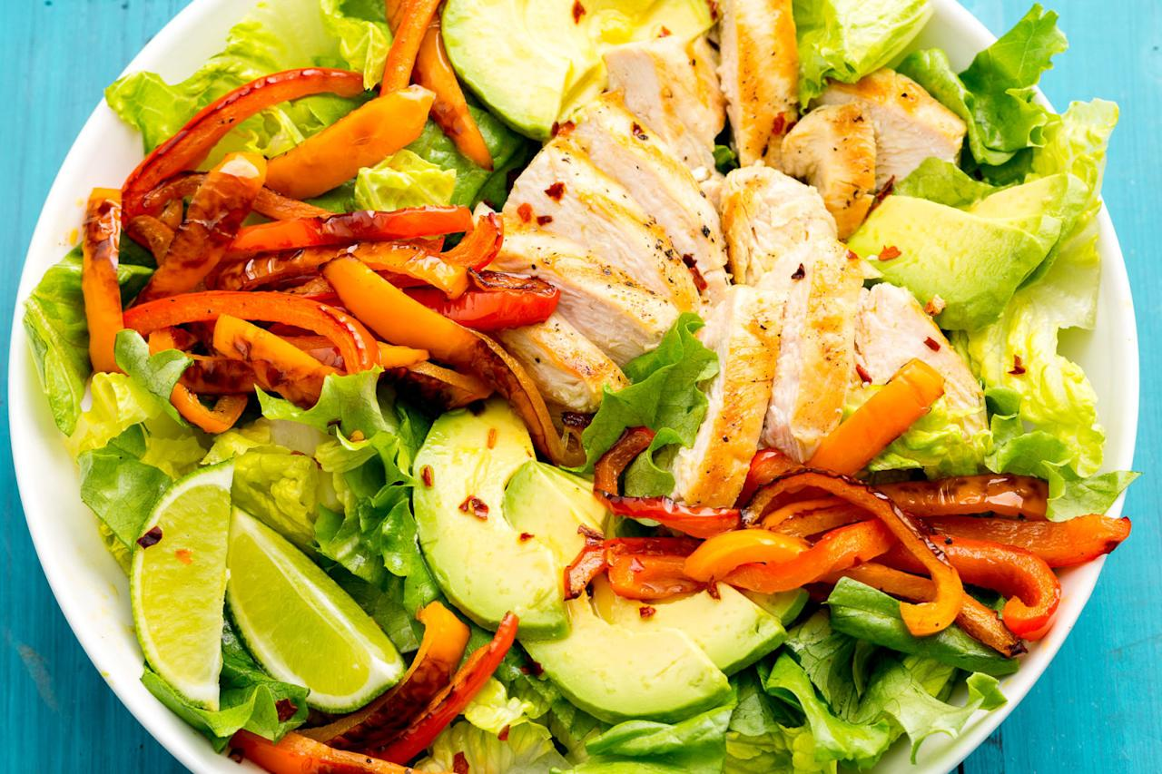 """<p>Your favorite Mexican dish, now in salad form.</p><p>Get the recipe from <a rel=""""nofollow"""" href=""""http://www.delish.com/cooking/recipe-ideas/recipes/a47332/fajita-chicken-salad-recipe/"""">Delish</a>.</p>"""