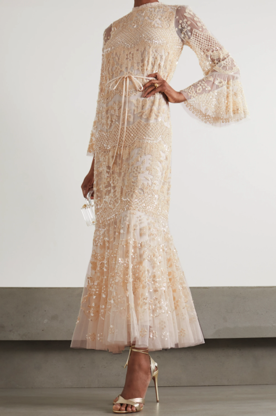 Needle & Thread Snowdrop Sequin-Embellished Tulle Gown. (Photo via Net-A-Porter)