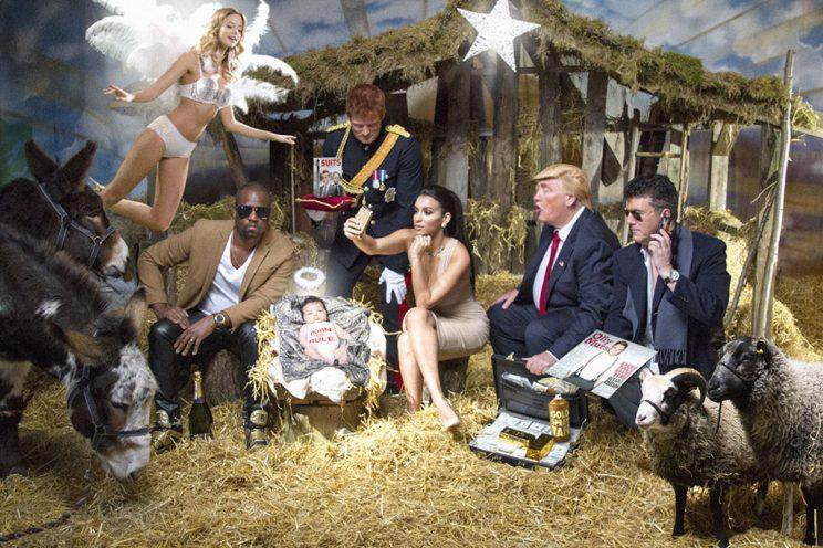 Lookalikes of Kim Kardashian and Kanye West, Donald Trump, and more pose for a new take on the iconic nativity scene. (Photo: Alison Jackson)