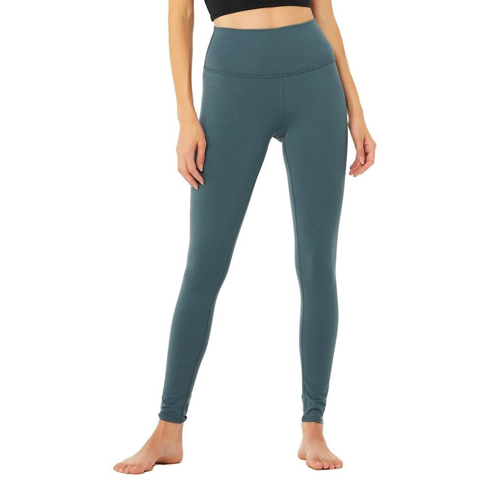 """Sometimes you just want an option that isn't your everyday pair of black leggings. When those moments come along, opt for this emerald green style instead. Because who doesn't love an occasional jewel-tone moment? $82, Alo. <a href=""""https://www.aloyoga.com/products/w5473r-high-waist-airbrush-legging-deep-jade"""" rel=""""nofollow noopener"""" target=""""_blank"""" data-ylk=""""slk:Get it now!"""" class=""""link rapid-noclick-resp"""">Get it now!</a>"""