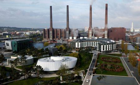 A general view shows the Volkswagen production site in Wolfsburg
