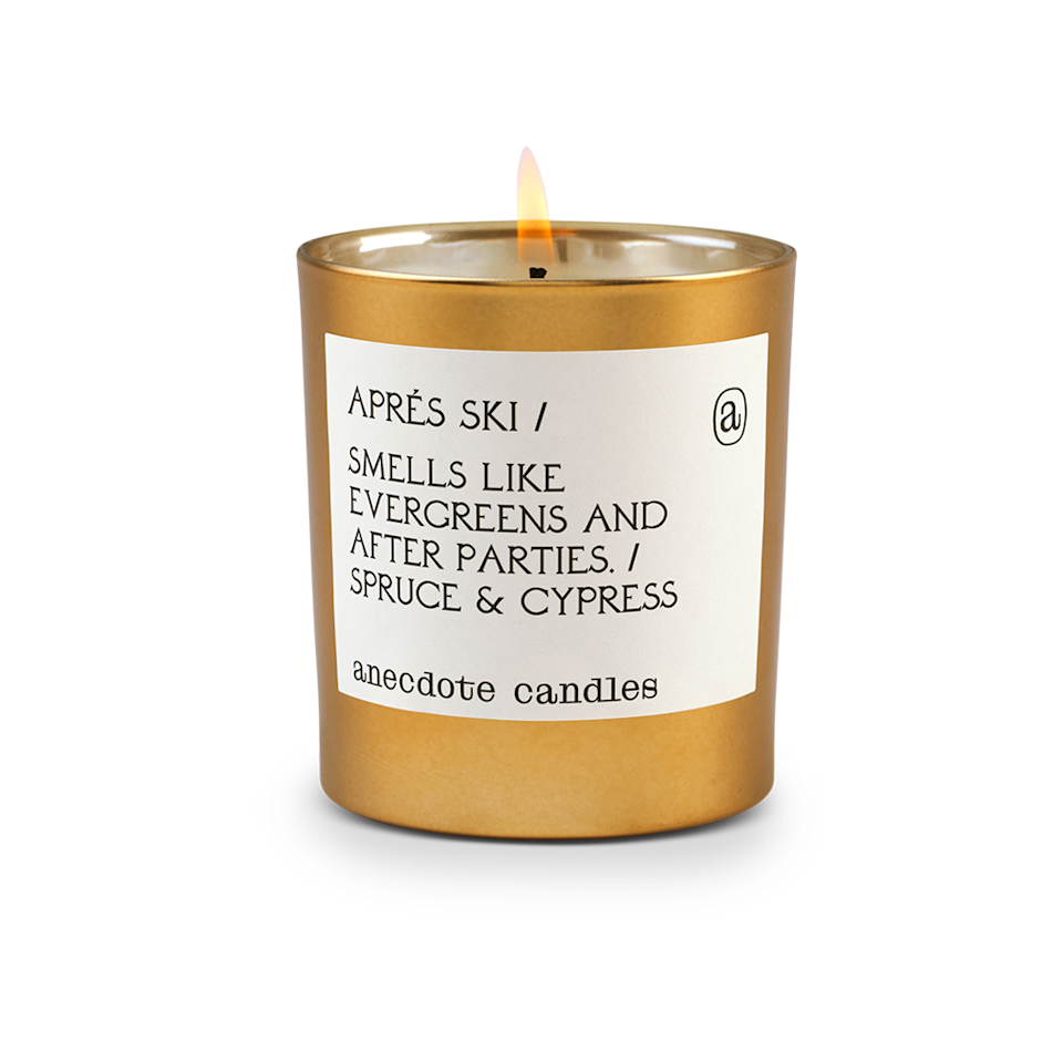 """$34, Anecdote Candles. <a href=""""https://anecdotecandles.com/collections/holiday-scents/products/apres-ski"""" rel=""""nofollow noopener"""" target=""""_blank"""" data-ylk=""""slk:Get it now!"""" class=""""link rapid-noclick-resp"""">Get it now!</a>"""