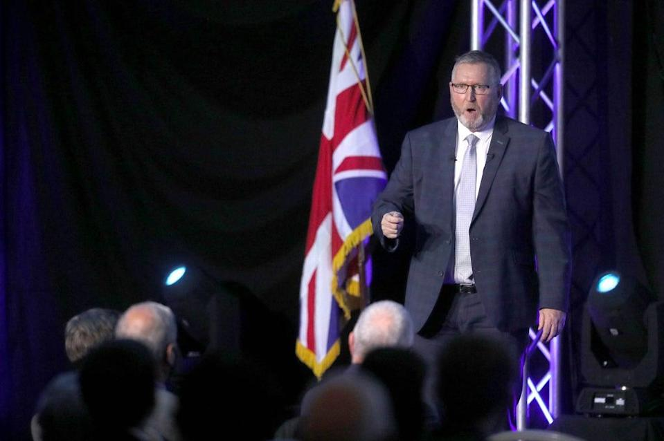 Doug Beattie speaking at the conference in Belfast (Brian Lawless/PA) (PA Wire)
