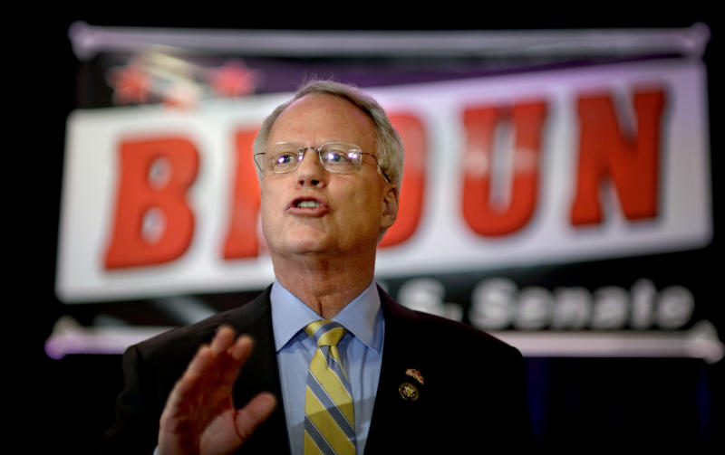 """FILE – In this Feb. 6, 2013, file photo Rep. Paul Broun, R-Georgia, announces his plans to run for the U.S. Senate seat being vacated by Sen. Saxby Chambliss in 2014, in Atlanta. A rare open Senate seat in Georgia promises a scrambled 2014 campaign that already has some Republicans quietly nervous. So far Broun, a conservative physician, is one of two Republicans to announce officially for Chambliss's vacated seat. He once called evolution and the Big Bang Theory """"lies straight from the pit of Hell.""""  (AP Photo/David Goldman, File)"""