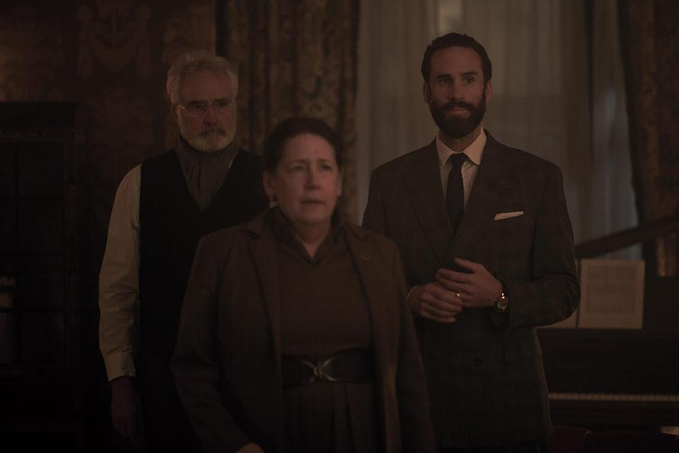 """The Handmaid's Tale -- """"Bear Witness"""" - Episode 310 -- Ready to strike back at her oppressors, June starts making arrangements for an ambitious plan, but a devious ploy on the part of Commander Waterford threatens to derail her. In Canada, hope turns to tragedy for Moira, Luke, and Emily. Joseph (Bradley Whitford), Aunt Lydia (Ann Dowd), and Fred (Joseph Fiennes), shown"""