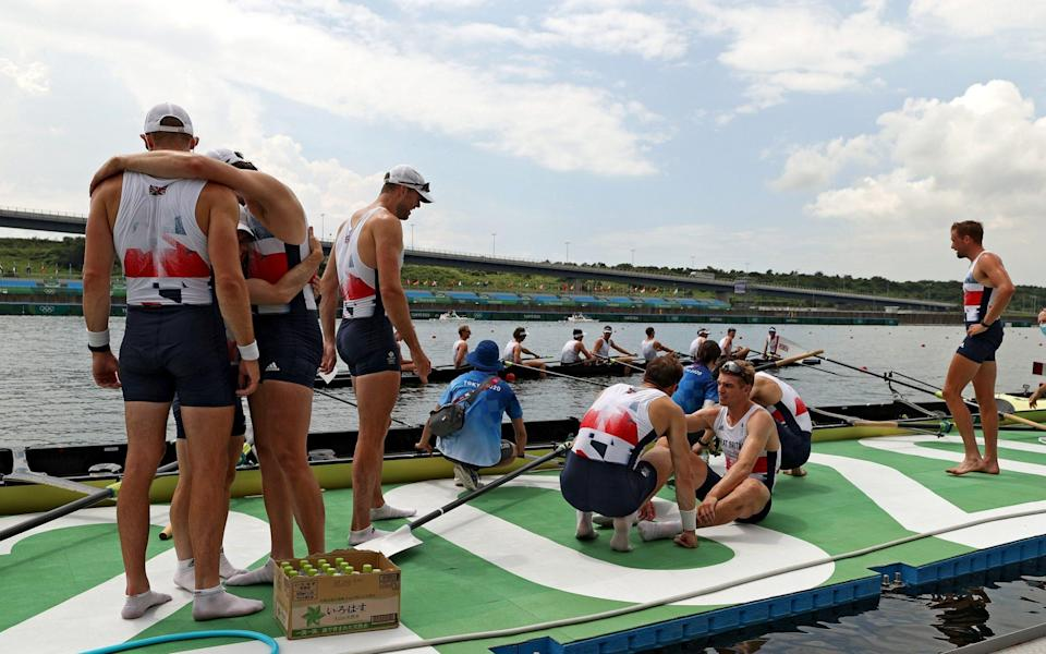 GB's rowers celebrate winning bronze in the men's eight - Getty Images